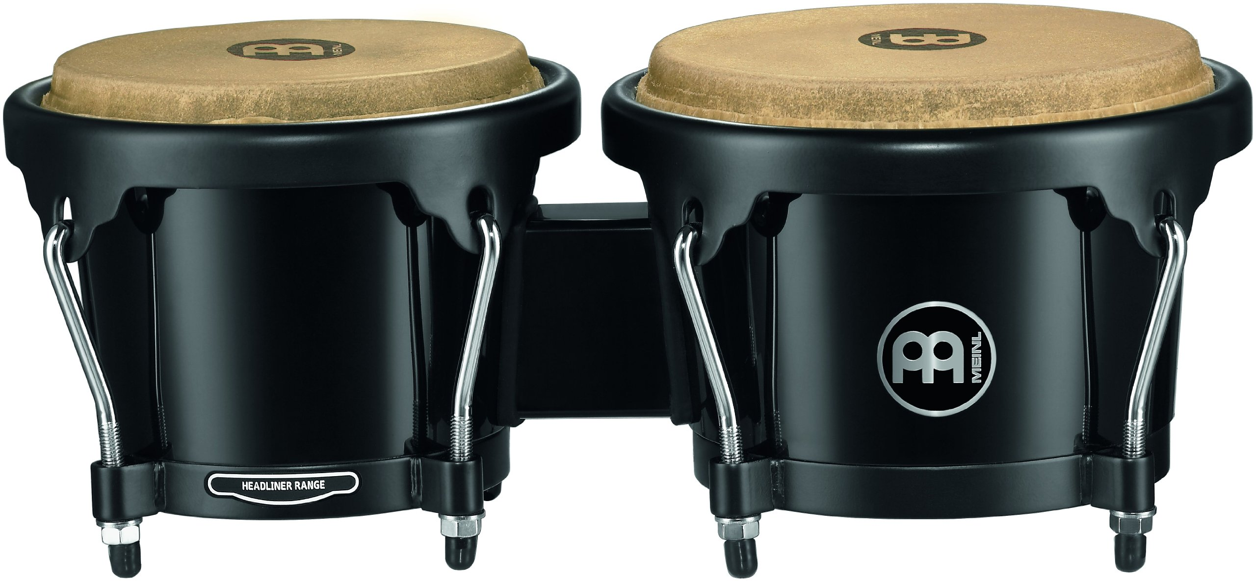 Meinl Percussion HB50BK Standard Size ABS Plastic Bongos with Natural Skin Heads, Black (VIDEO)