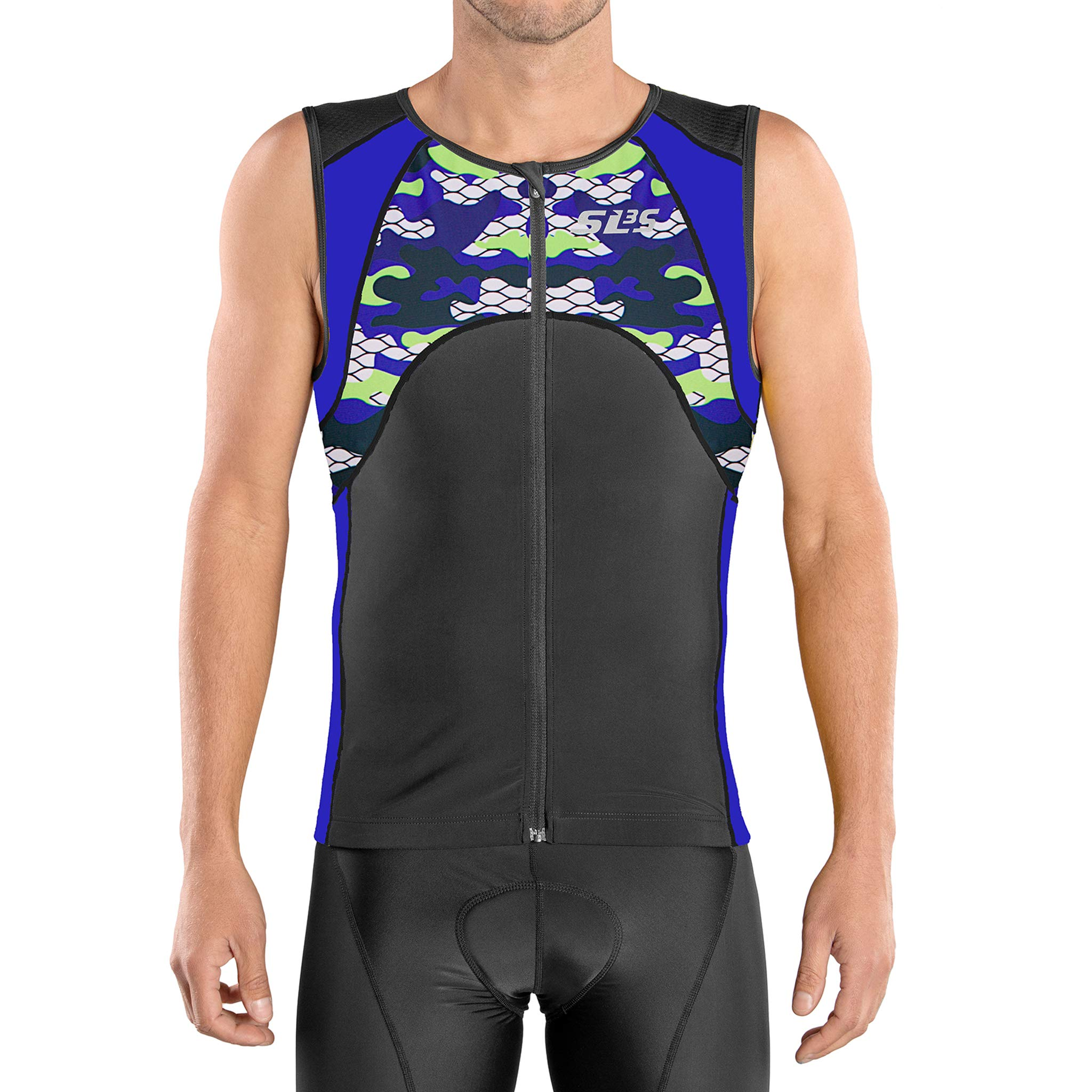 SLS3 Triathlon Men`s FX Tri Top | 3 Pockets | Full Zipper | Jersey | Singlet | Tank | Shirt | German Designed (Black/Blue Camo, S)