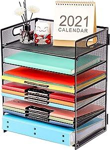 Marbrasse Paper Letter Tray Organizer - 6 Tier Mesh File Organizer with Handle, Paper Sorter Organizer for Letter/A4 Office File Folder Holder - Black