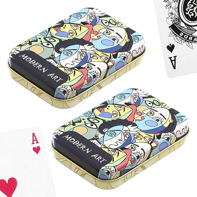 PracticDomus Set de 2 Barajas de Cartas de Póker en Estuche Metálico, Diseño de Giordano di Ponzano. Colección Arte Moderno: Amazon.es: Juguetes y juegos