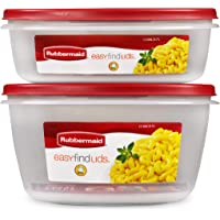 Amazon Price History:Rubbermaid Easy Find Vented Lids XL Serving Food Storage Set of 2 (4 Pieces Total) | Reusable & Stackable Meal Prep…