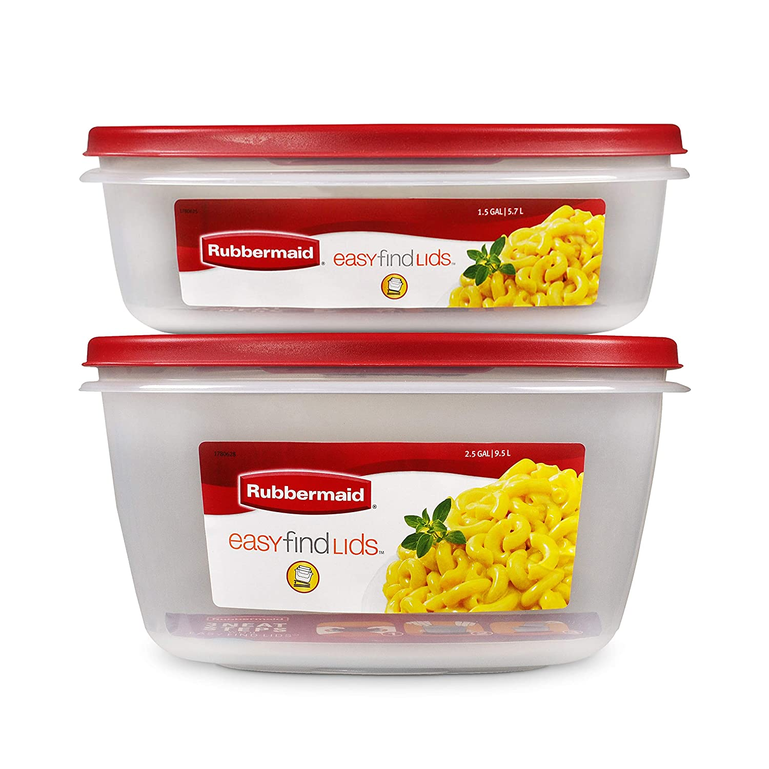 Rubbermaid 2108395 Easy Find Vented Lids XL Serving Food Storage Set of 2 (4 Pieces Total) | Reusable & Stackable Meal Prep Containers, 2-Pack, Racer Red