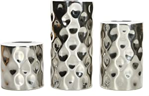 "Hosley Silver Metallic Finish Pillar Holders, 3"" , 5"", 7"" High, Pebble Pattern. Ideal GIFT for Wedding, Party, Home, SPA, Aromatherapy, Reiki, Votive, Tea Light, Candle Garden O3"