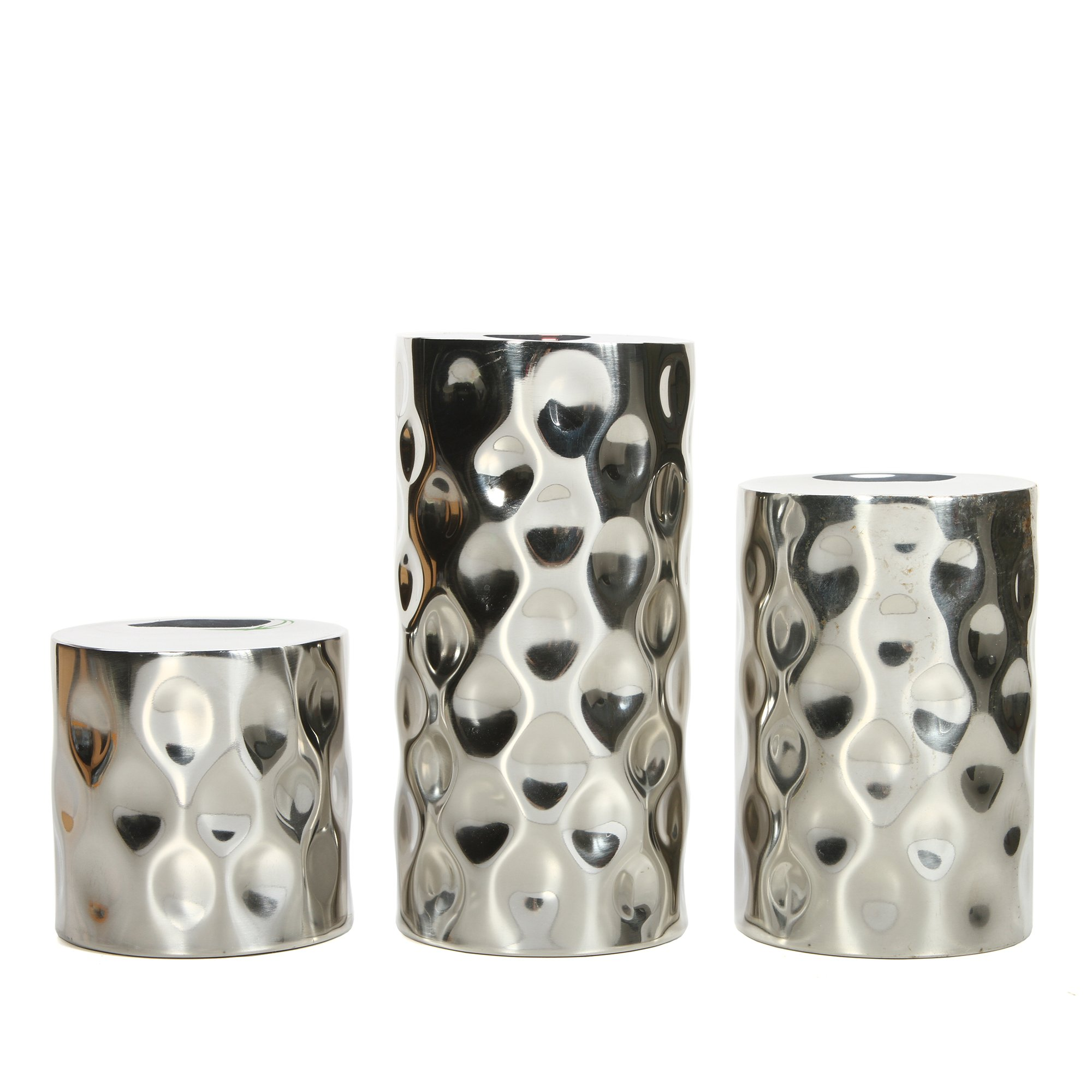 Hosley Silver Metallic Finish Pillar Holders, 3'' , 5'', 7'' High, Pebble Pattern. Ideal GIFT for Wedding, Party, Home, SPA, Aromatherapy, Reiki, Votive, Tea Light, Candle Garden O3