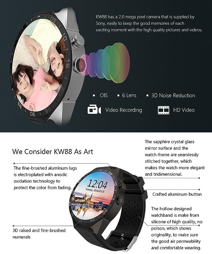 Reloj inteligente Kingwear kw88 3G con soporte Quad Core, cámara de 2 megapíxeles, bluetooth, tarjeta SIM, wifi, GPS y monitor de frecuencia cardíaca para ...