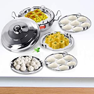 Sumeet Stainless Steel Induction Bottom (Encapsulated Bottom) Induction & Gas Stove Friendly Multi Utility Kadhai Set with Lid and 5 Plates