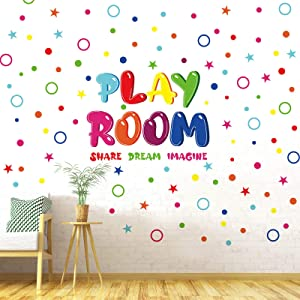 Outus Playroom Wall Decals Colorful Share Imagine Dream Wall Stickers Peel and Stick Inspirational Playroom Wall Decoration for Kids Bedroom Nursery Classroom