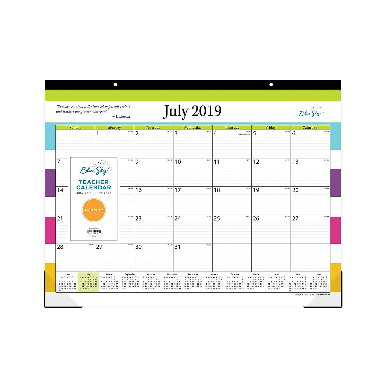 Blue Sky 2018-2019 Academic Year Teachers Monthly Desk Pad Calendar 22 x 17 Ruled Blocks Stripe Design