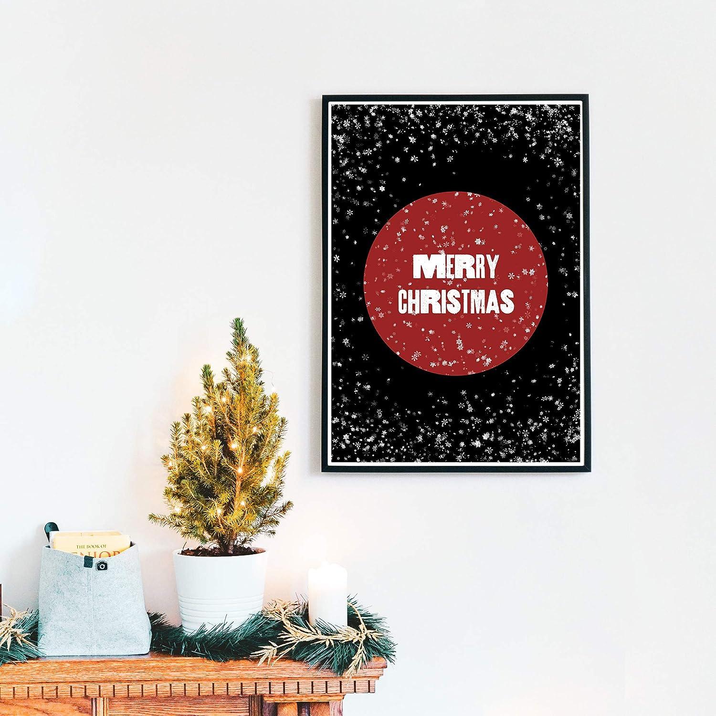 schwarz wei/ß Tannenbaum Motiv f/ür Weihnachten Merry Christmas Poster : Din A4-30x40 cm Wanddeko Bild Weihnachtsdeko