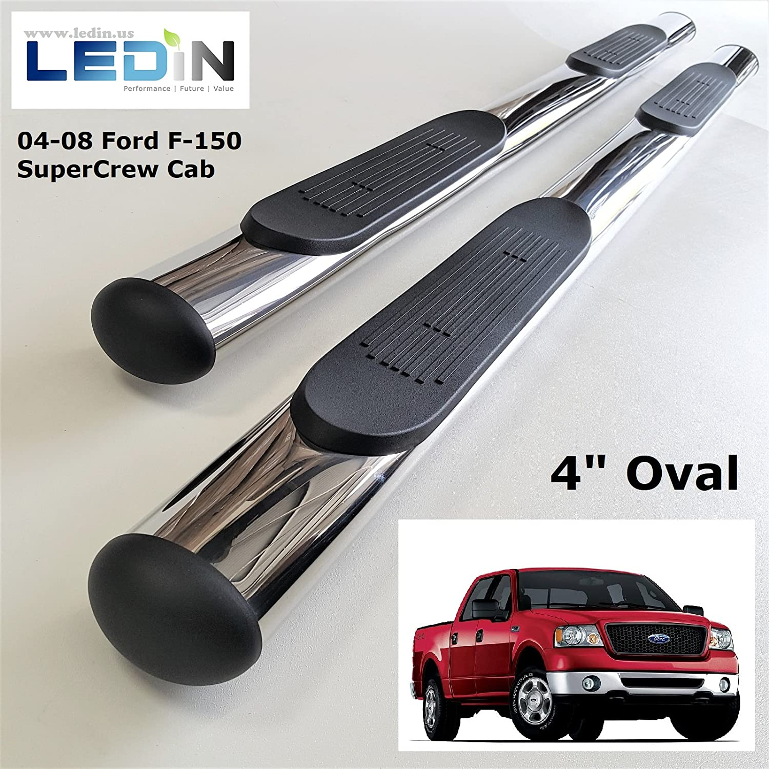 "For 2004-2008 Ford F150 Super Cab 4/"" Curved BLK Nerf Bar Side Step Running Board"