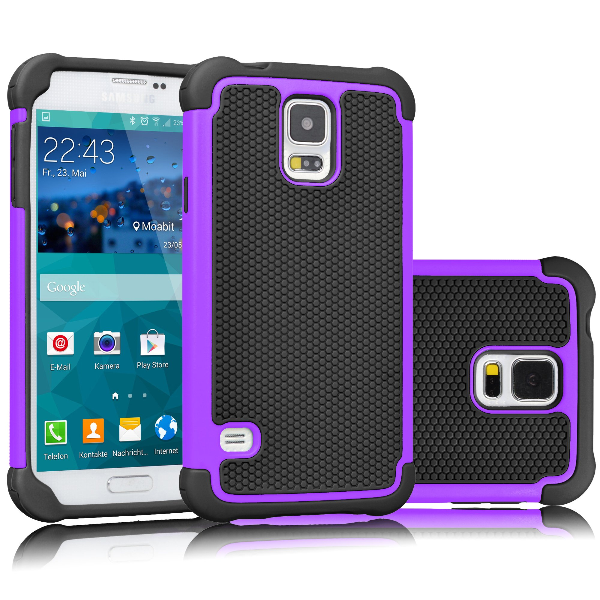 Tekcoo Galaxy S5 Case, [Tmajor] Sturdy [Purple/Black] Shock Absorbing Hybrid Rubber Plastic Impact Defender Rugged Slim Hard Case Cover Bumper for Samsung Galaxy S5 S V I9600 GS5 All Carriers