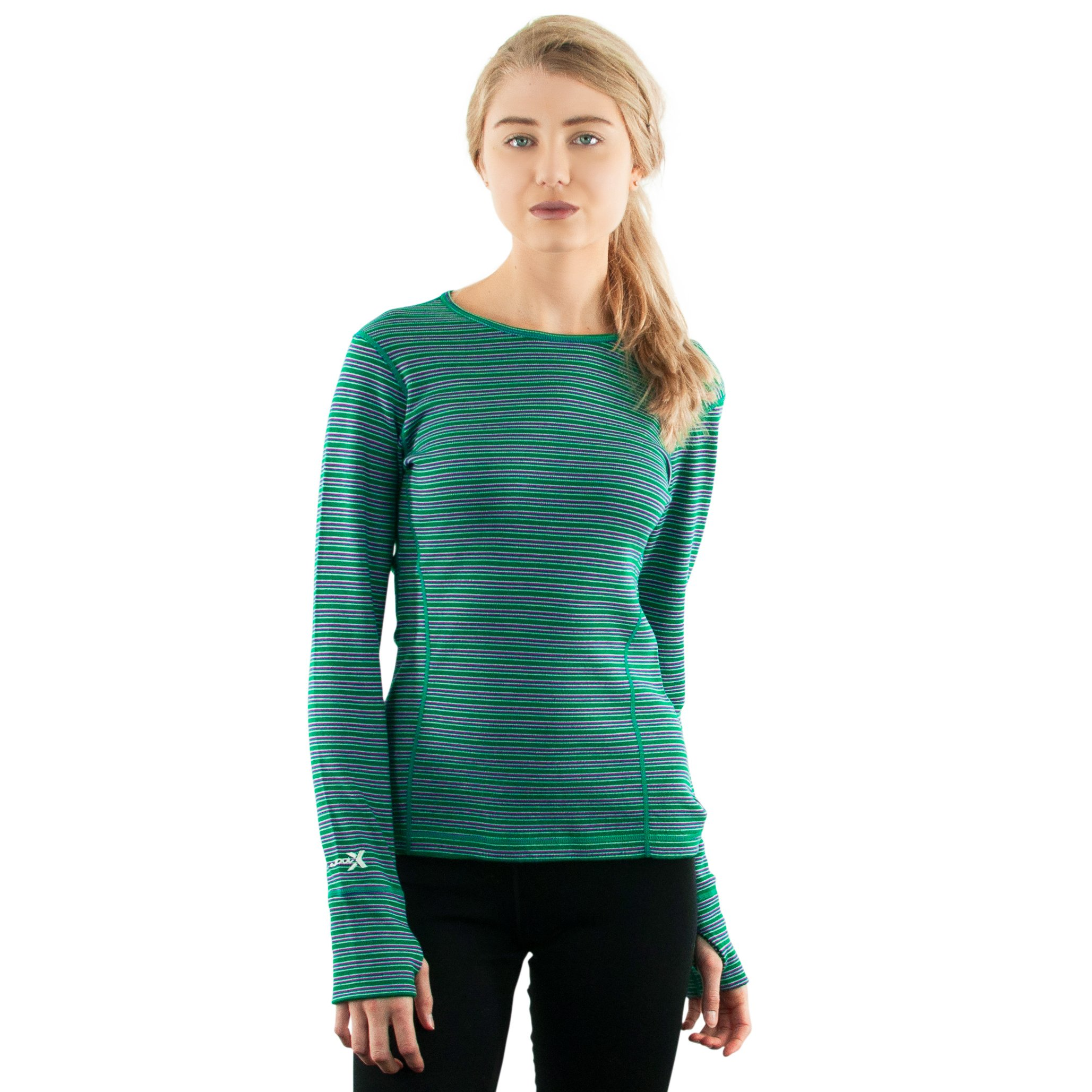 WoolX X752 Womens Heavyweight Alpine Top - Emerald/Stripe - 2XL