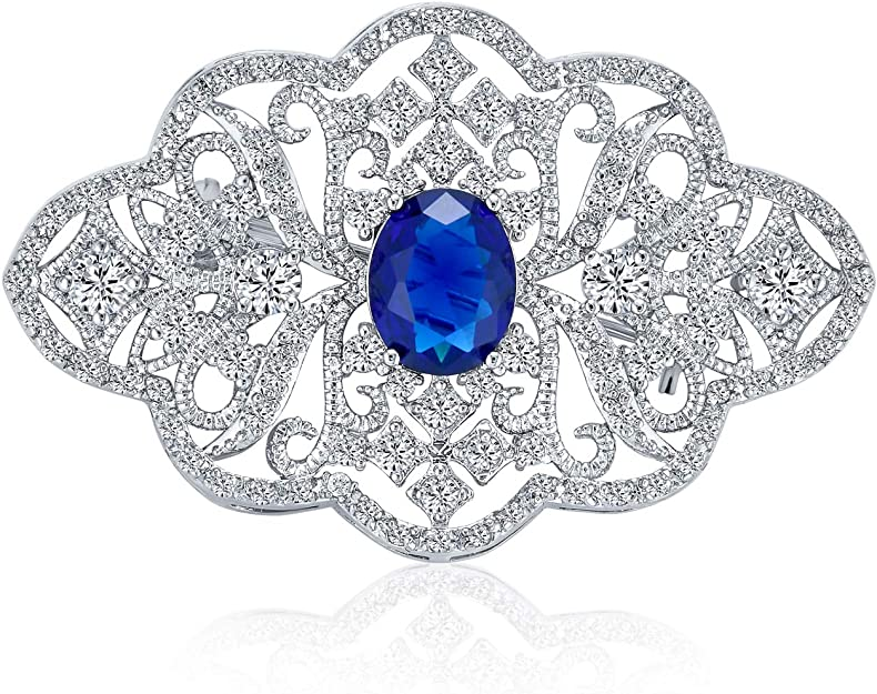 Bling Jewelry Statement Deco Style Royal Blue Pave Cz Filigree Simulated Sapphire Brooch Pin For Women For Mother Silver Plated Brass Amazon Co Uk Jewellery