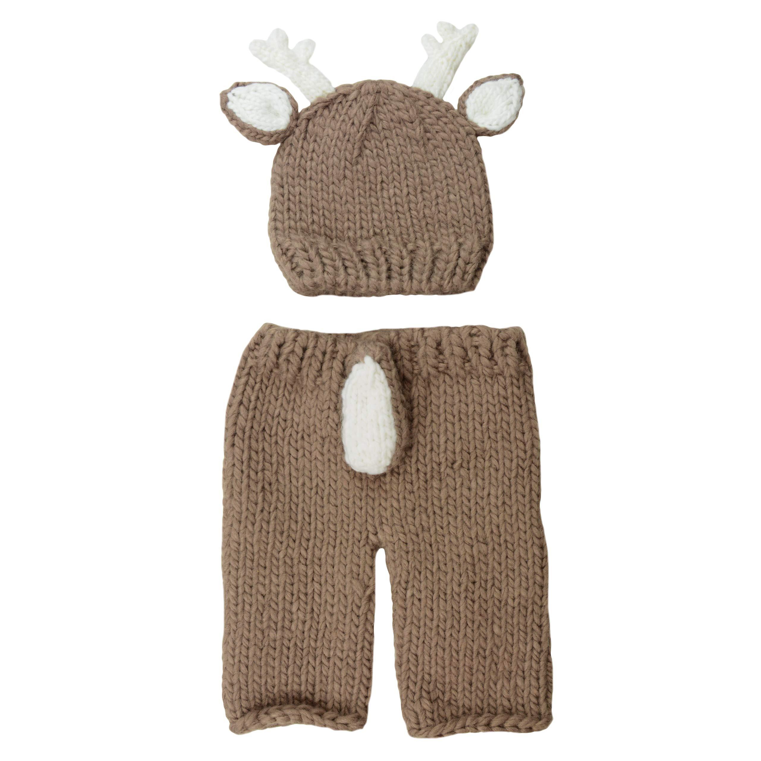 Hartley Deer Hand Knit Newborn Set (Newborn 0-3 Months, Brown) by The Blueberry Hill