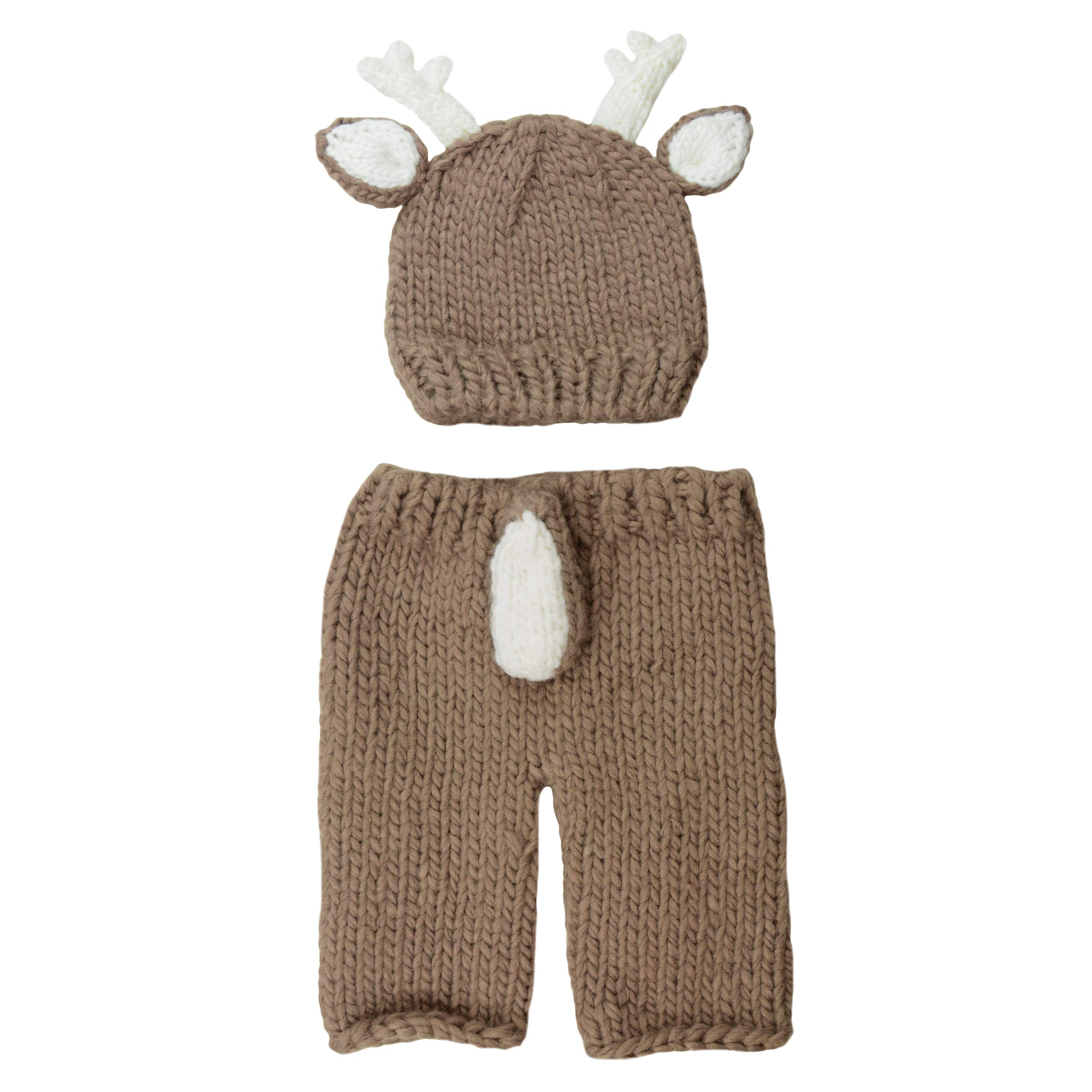 Hartley Deer Hand Knit Newborn Set (Newborn 0-3 Months, Brown)