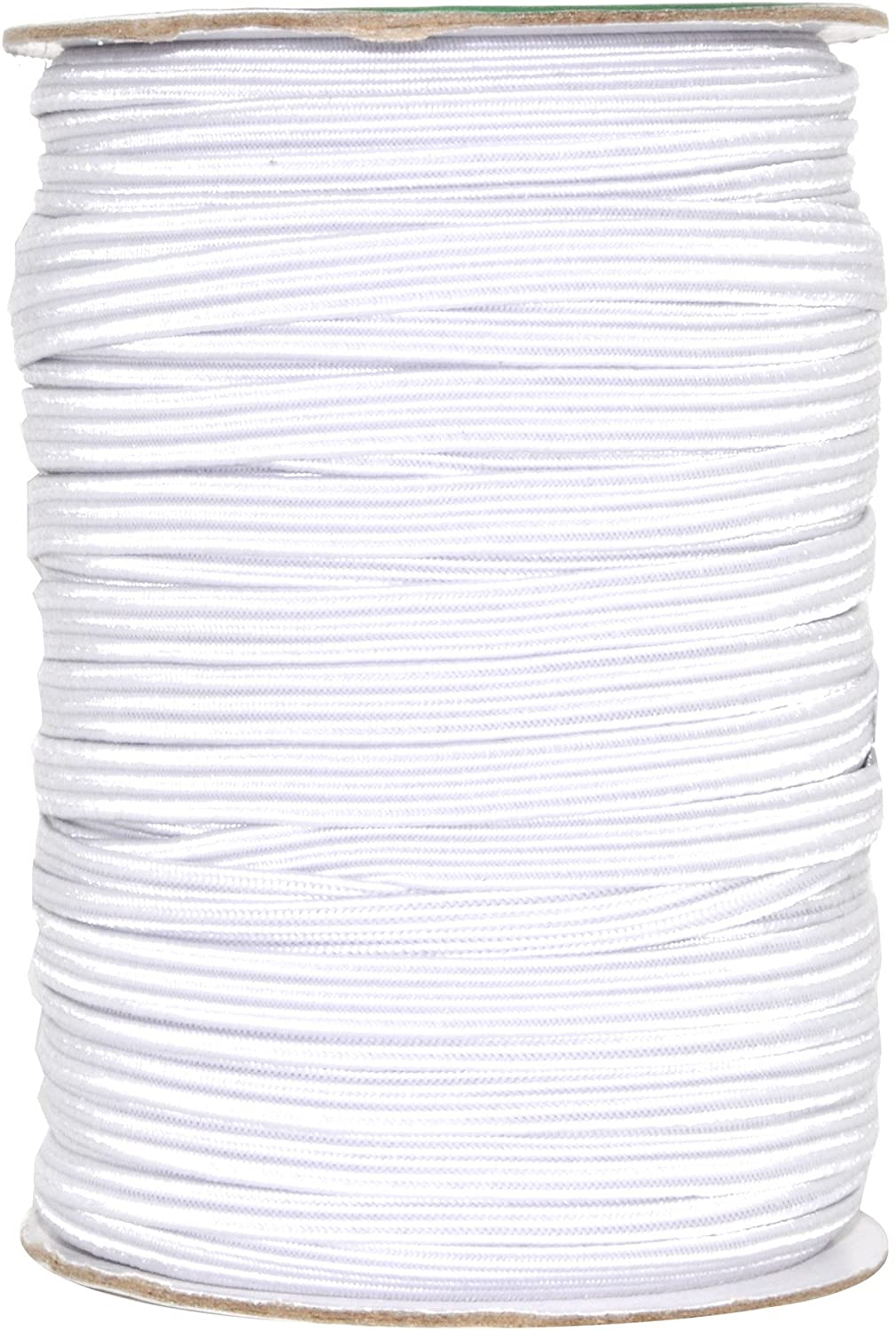 Mandala Crafts Flat Elastic Band, Braided Stretch Strap Cord Roll for Sewing and Crafting (1/4 inch 6mm 50 Yards, White)