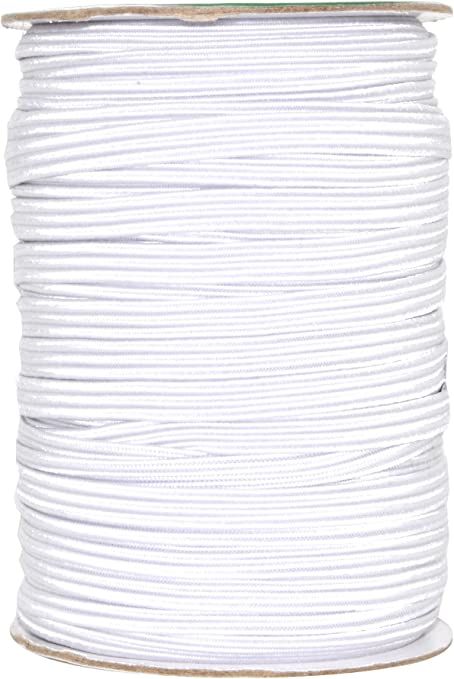 White 1//4 inch Wide Braided Stretch Strap Cord Roll 100 Yards Flat Elastic Band for Mask Making and Sewing Crafting
