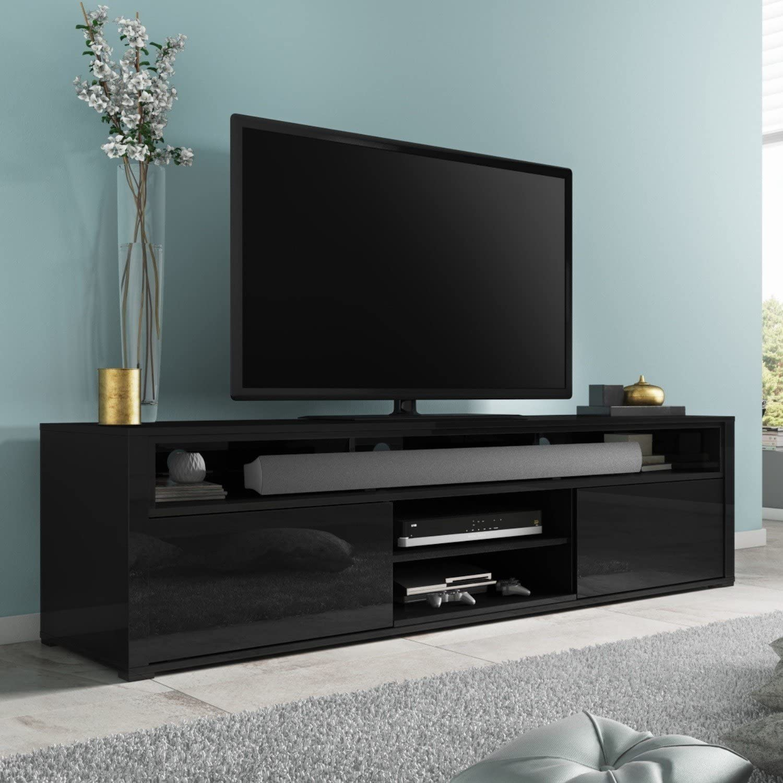 Evoque negro brillante mueble para televisor con Soundbar estante: Amazon.es: Hogar