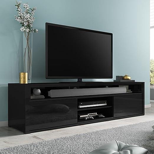 Evoque negro brillante mueble para televisor con Soundbar estante ...