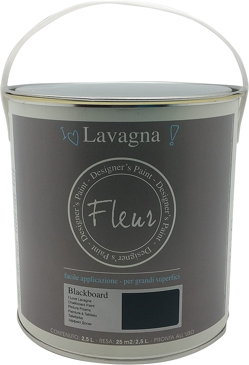 Fleur Paint 13250 - Pintura (transforma superficies en pizarra, 2,5 l) color blackboard: Amazon.es: Bricolaje y herramientas