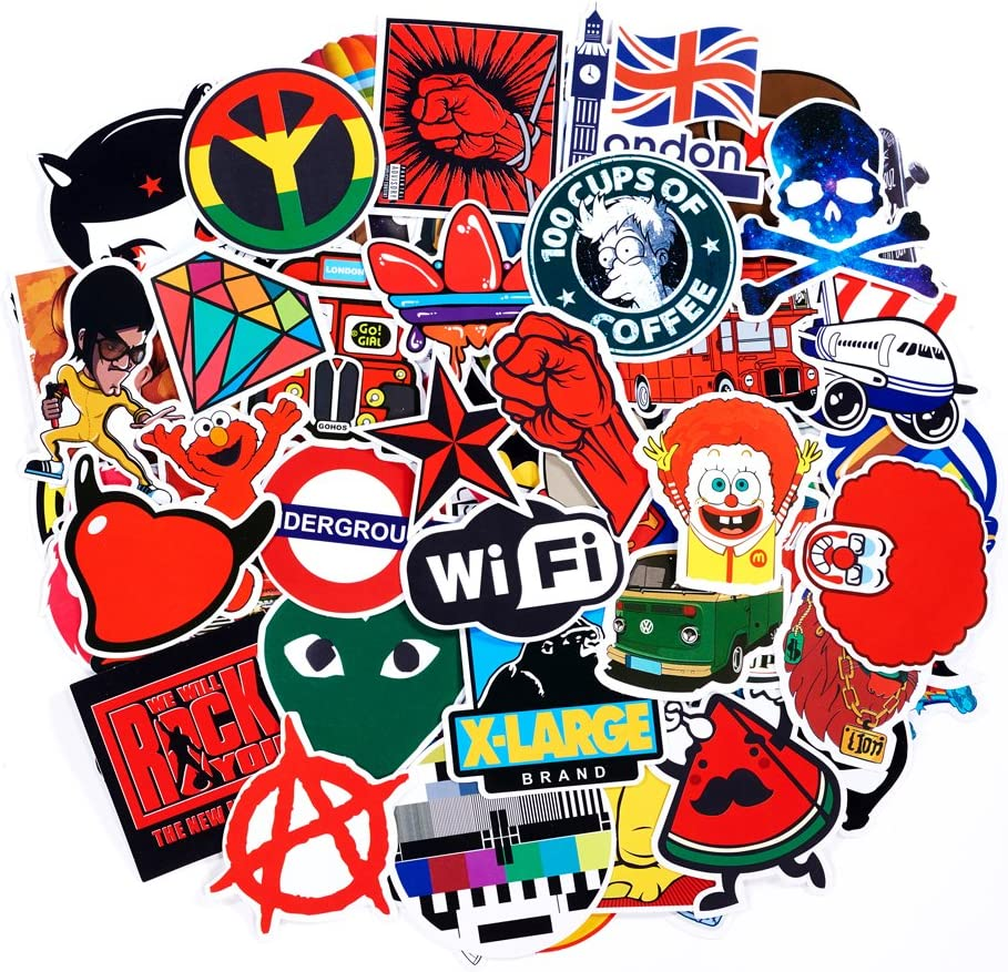 Etc SuprCool Stickers Set 50pcs Random Sticker Decals For Water Bottle Laptop Cellphone Skateboard Bicycle Motorcycle Car Bumper Luggage Travel Case 50PCS