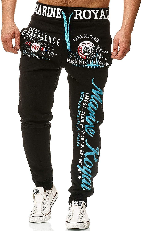 Pantalon de sport avec poignets Pantalon de surv/êtement en coton Bas de jambe /étroit L.gonline Pantalon de jogging pour homme Marine 5258
