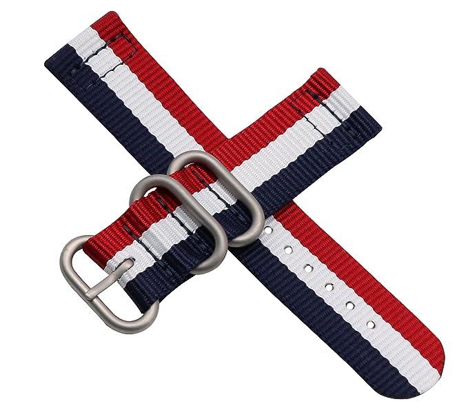 nylon balístico reloj de reemplazo de la correa de banda de 22 mm estilo colorido de gama alta de la NATO para los hombres trenzadas moda: Amazon.es: ...