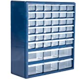 Plastic Storage Drawers – 42 Compartment Organizer – Desktop or Wall Mount Container for Hardware, Parts, Crafts, Beads, or T