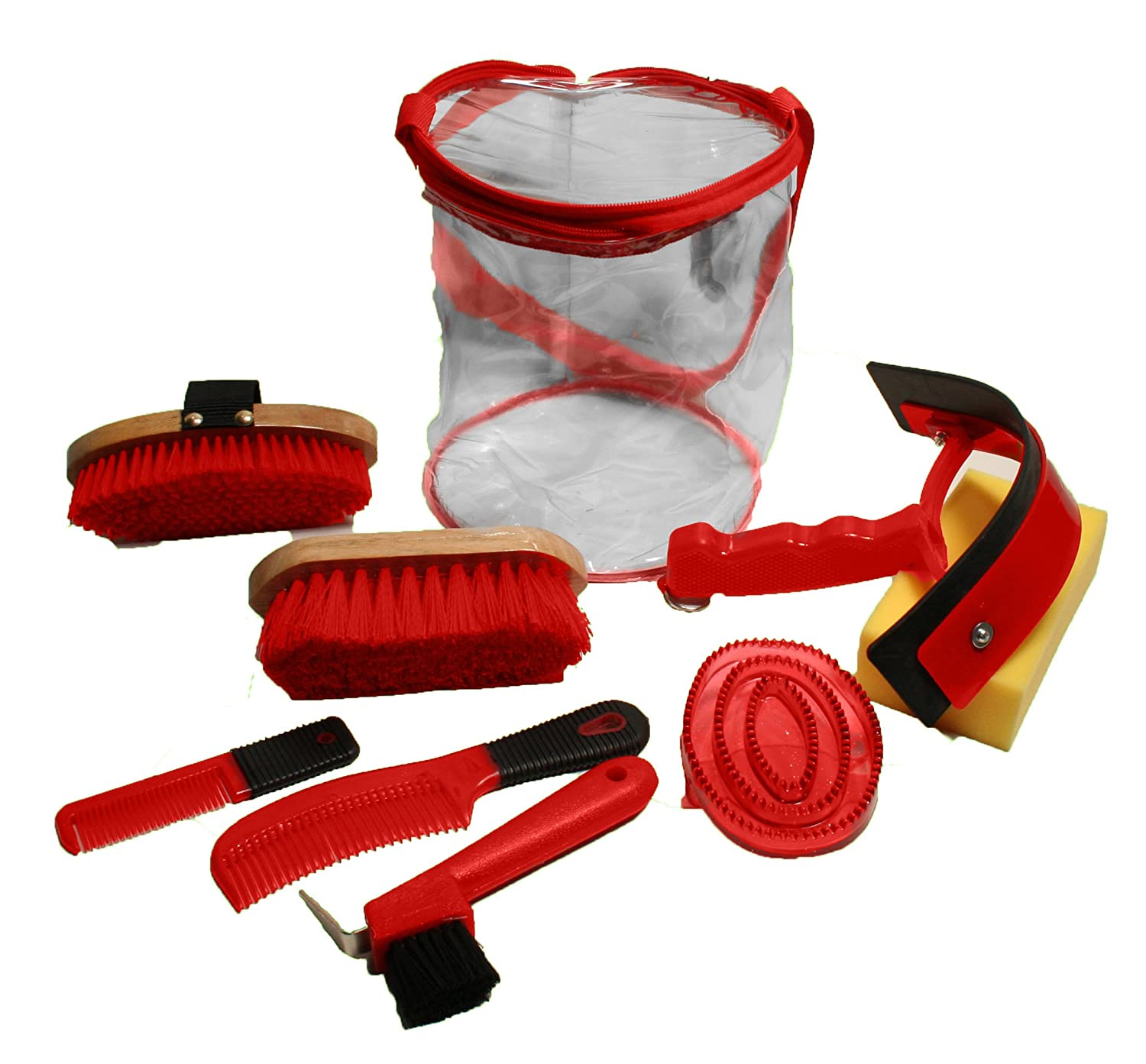 Red Derby Deluxe 9 Item Horse Grooming Kit,   3330 Equestrian Grooming Set, 91-7034RD, Red, Large