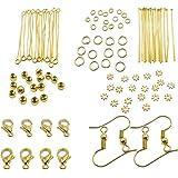 TOAOB Gold Jump Ring Headpins Eye Pins Earring Hook Jewellery Making Starter Kit Findings