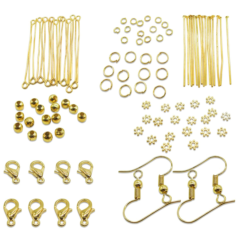 TOAOB Jewelery Making Starter Kits Gold Jump Ring Head Pins Eye Pins Earring Hook Findings CLB0076