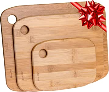 Bamboo Cutting Board Set of 3 – Organic Bamboo Cutting Boards for Meat Cheese & Vegetables – Wooden Chopping Boards for Kitchen | Serving Tray | Wood Cutting Boards – BlauKe