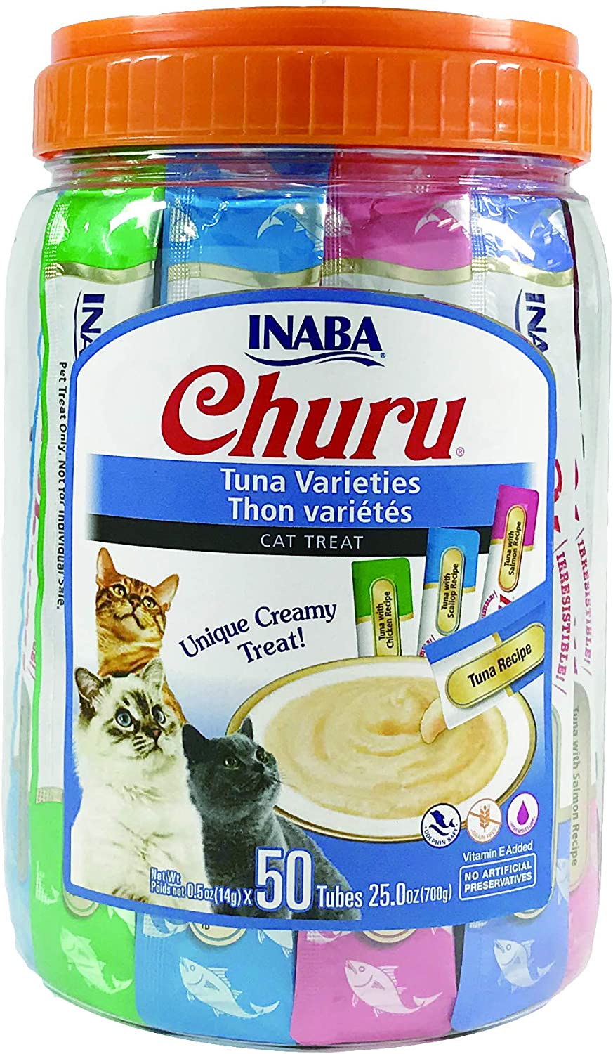 INABA Churu Tuna Lickable Creamy Purée Cat Treats 4 Flavor Variety Pack of 50 Tubes