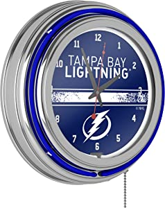 Trademark Global NHL Chrome Double Rung Neon Clock - Tampa Bay Lightning