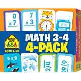 School Zone - Math 3-4 Flash Cards 4 Pack - Ages 6 and Up, 3rd Grade, 4th Grade, Multiplication, Division, Time and Money, an