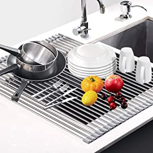 """Dish Drying Rack 17.6"""" x 16"""", G-TING Over Sink Roll Up Large Dish Drainers Rack, Multipurpose Foldable Kitchen Sink Rack Mat Stainless Steel with Silicone Rims for Dishes, Cups, Fruits Vegetables"""