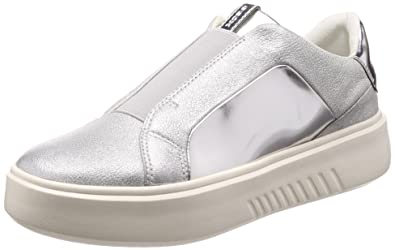 Geox Sneakers Slip on Donna in Pelle con Platform Argento Nhenbus D828DB 0KYBN C1007 D828DB 0KYBN C1007