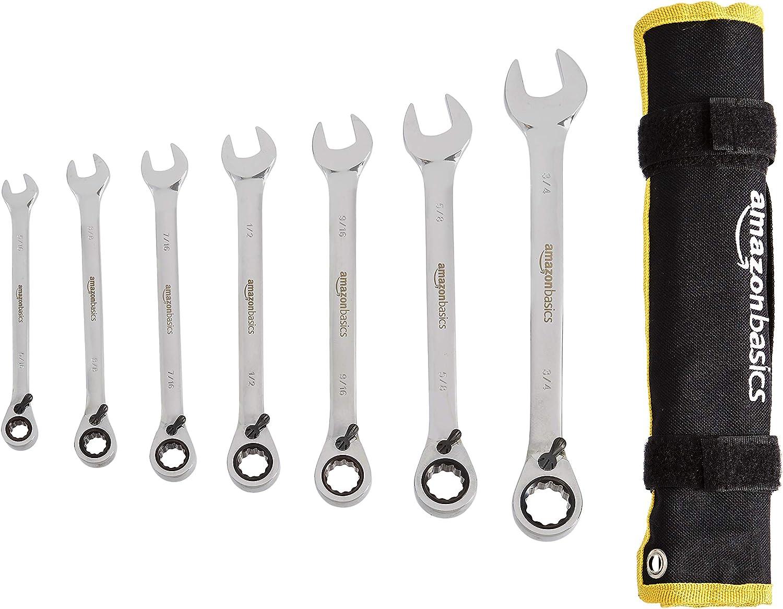 AmazonBasics Reversible Ratcheting Wrench Set - SAE, 7-Piece