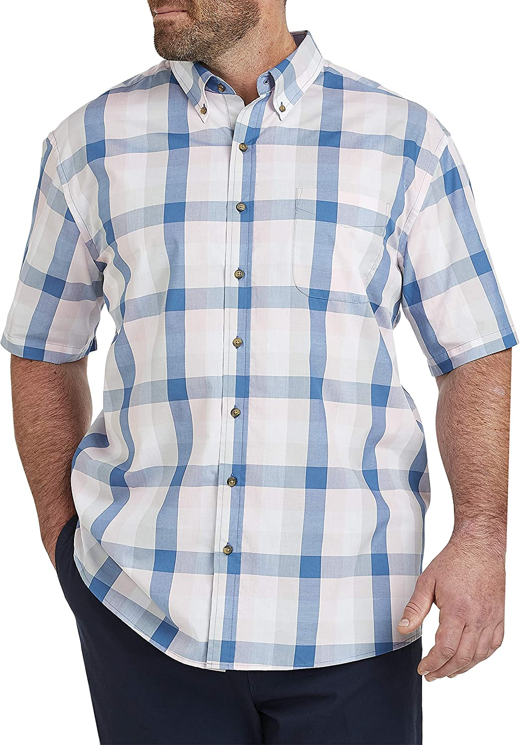 Harbor Bay by DXL Big and Tall Easy-Care Long-Sleeve Plaid Sport Shirt