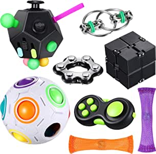 8 Pieces Fidget Toy Set Include 12 Side Fidget Toy Infinity Cube Rainbow Puzzle Ball Fidget Pad Cube Six Roller Chain Flippy Chain Fidget Marble Toy Stress Reducer Anxiety Relieve Handheld Toy