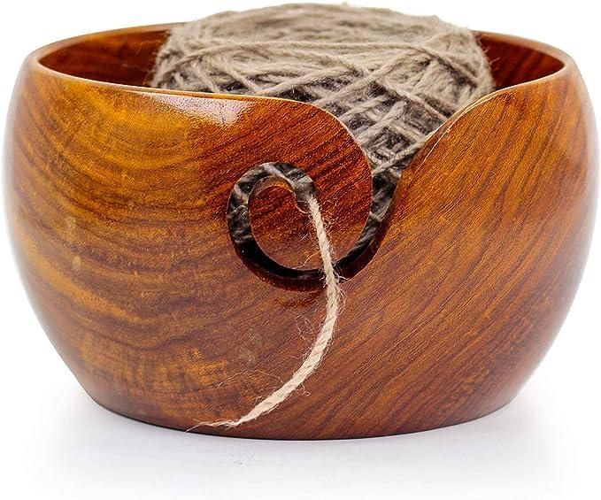 Nagina International Fil portatif en Bois de qualité supérieure en Bois de Palissandre | Bols à Tricoter | Crochet Titulaire (6 x 6 x 3 Pouces)