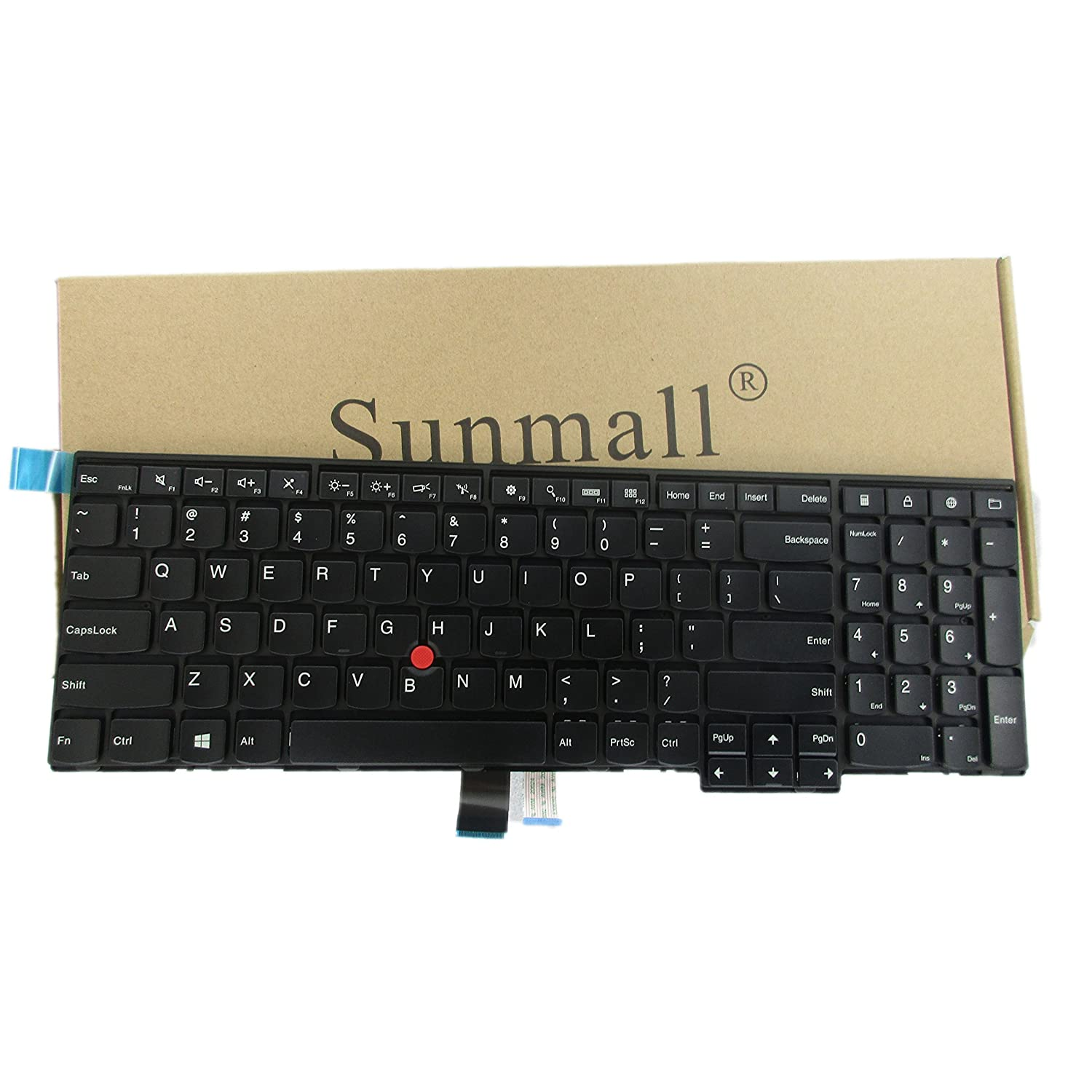 SUNMALL New Laptop Keyboard Replacement with Frame and Pointer Compatible with IBM Lenovo ThinkPad Edge E531 W540 W541 W550 W550S T540 T540P T550 Series Fit P//N 0C45254 04Y2465 Black US Layout