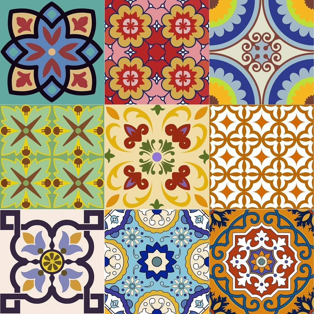Backsplash Tile Stickers 24 PC Set Authentic Traditional Talavera Tiles Stickersl Bathroom & Kitchen Tile Decals Easy to Apply Just Peel and Stick Home Decor 4x4 Inch (Backslash peel and Stick C400)