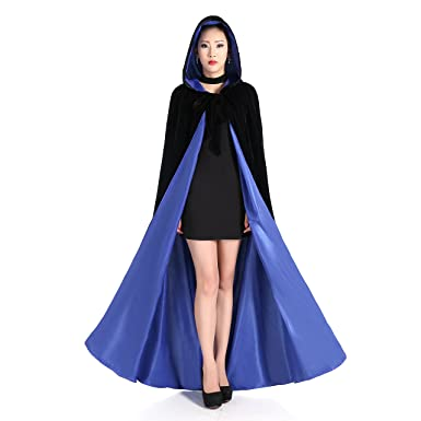 Amazon.com  Newdeve Black Halloween Hooded Cloaks Medieval Cape Robe  Costume Cosplay  Clothing 39a341b76