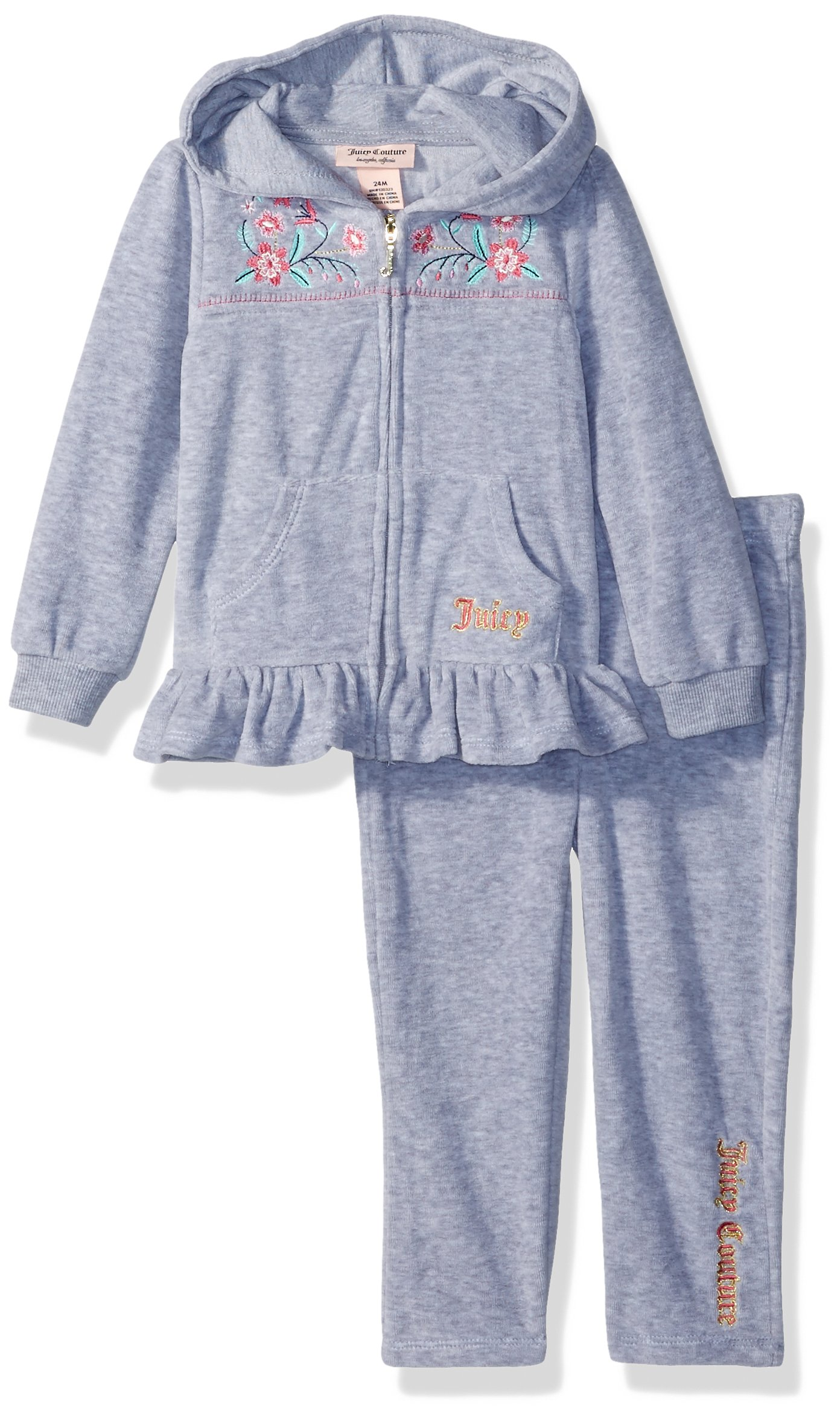 Juicy Couture Girls' 2 Piece Velour Pants Set, Grey Heather, 6-9 Months by Juicy Couture