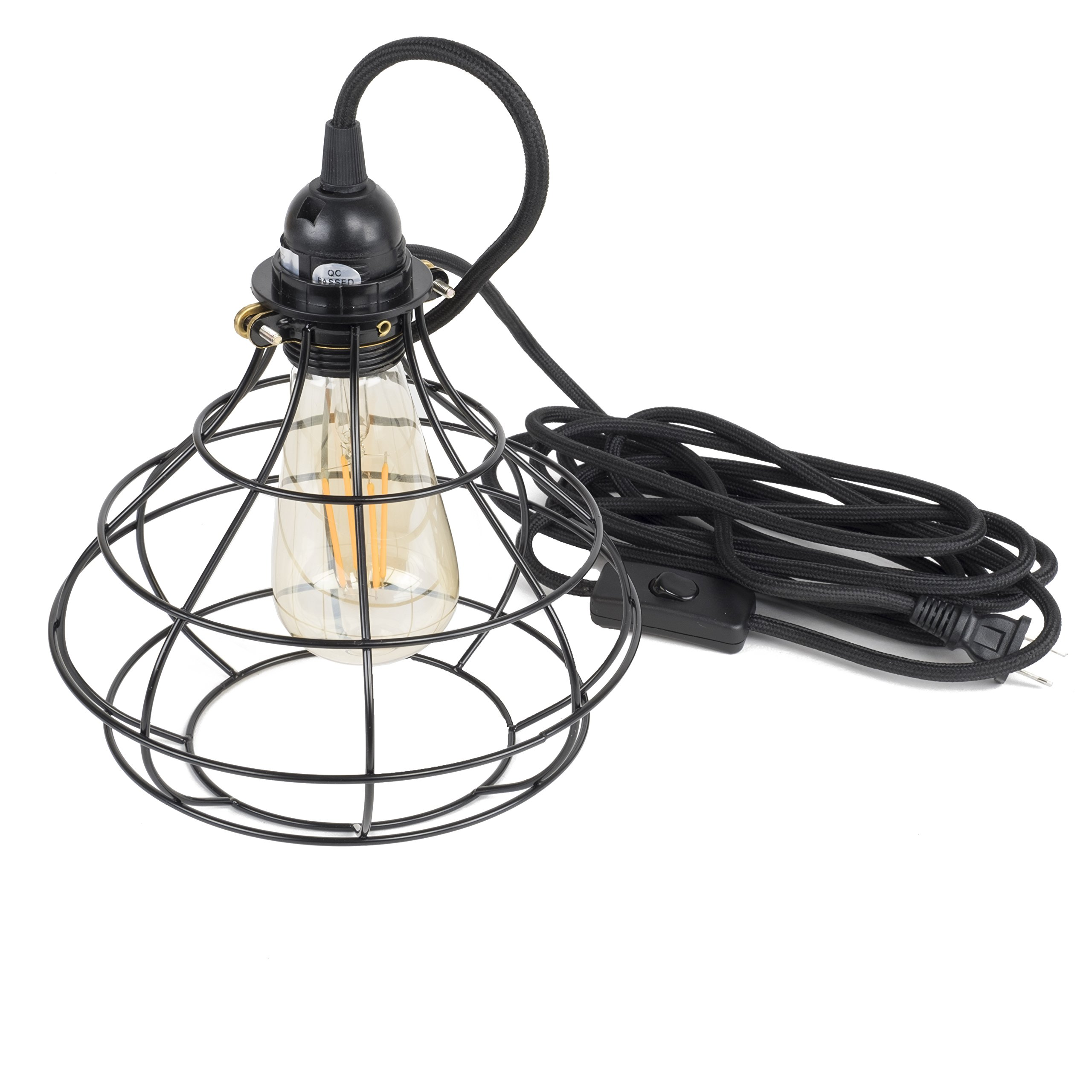 Industrial Cage Pendant Light with 15' Black Fabric Plug-in Cord and Toggle Switch Includes Edison LED Bulb in Black by Rustic State (Image #3)