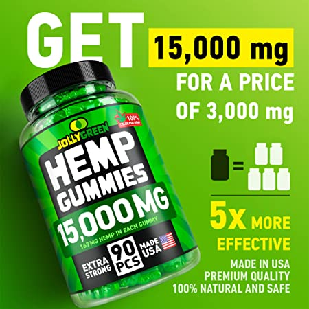 JOLLYGREEN Hemp Gummies - 15000MG in 90 PCS - Effective Anxiety & Stress  Relief - Made in