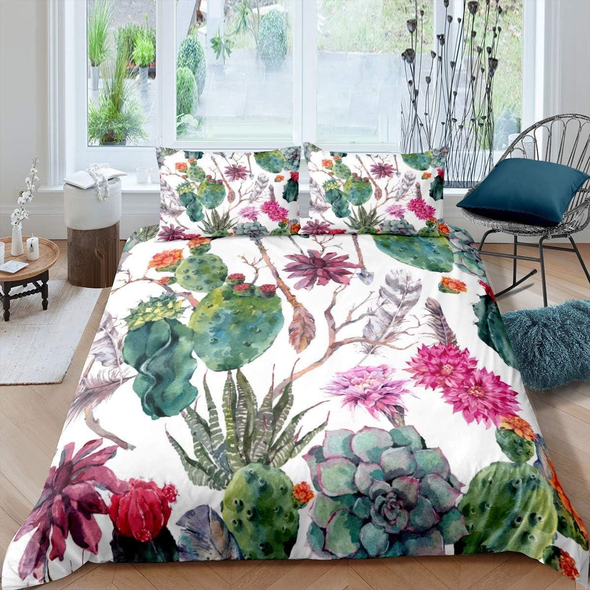 Feelyou Girls Cactus Printed Duvet Cover Boho Succulent Bedding Set for Daughter Women Bohemian Arrow Decor Comforter Cover Botanical Pattern Bedspread Cover 2Pcs Zipper Twin Size