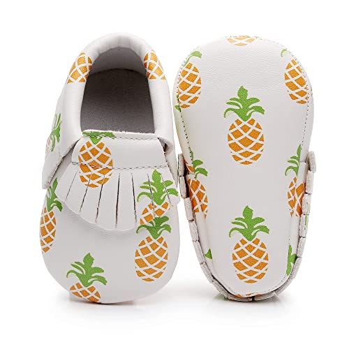 Moonbaby Organics Soft Sole Pineapple Vegan Baby Moccasins (0-3 Months)