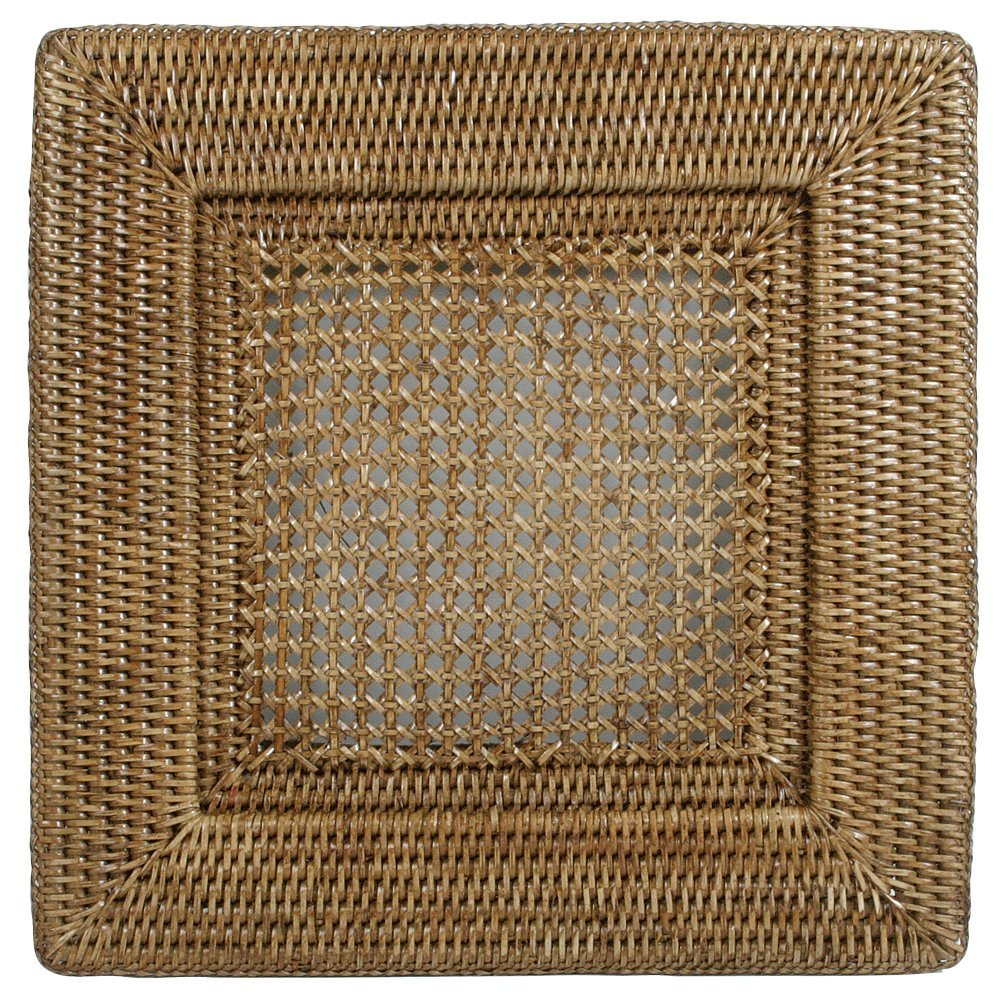 Amazon.com | Entertaining with Caspari Rattan Dinner Plate Charger Square Natural 1-Count Plates  sc 1 st  Amazon.com & Amazon.com | Entertaining with Caspari Rattan Dinner Plate Charger ...